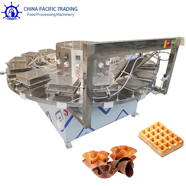 Pictures of Waffles and Wafer Bowl Making Machine